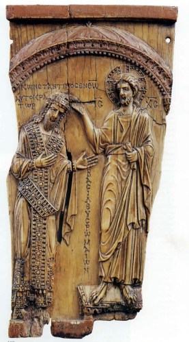 Ivory depiction of Constantine VII being crowned by Christ