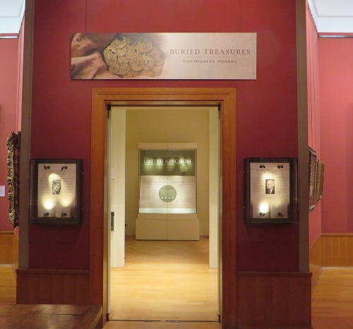 Entrance to the exhibition Buried Treasures: Uncovering Hoards, at the Barber Institute of Fine Arts, University of Birmingham