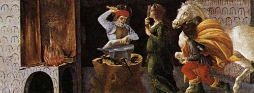 The Miracle of St Eligius by Sandro Botticelli, now in the Galleria degli Uffizi, Florence