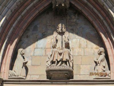 Statue of Christ in the tympanum of the portal of Santa Maria del Mar, Barcelona