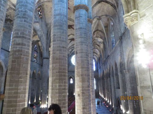 Northern aisle of Santa Maria del Mar, Barcelona, seen from the crossing