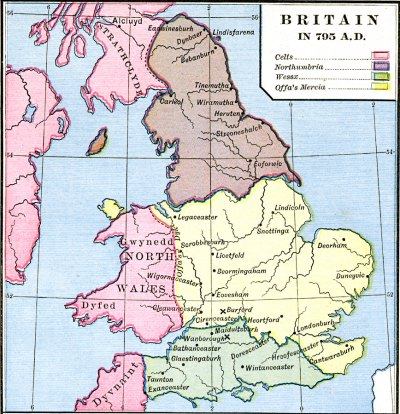 Map of England in the time of Offa's rule, c. 795