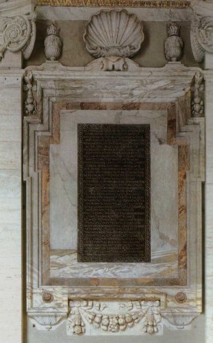 Charlemagne's epitaph for Pope Hadrian I, on display in San Pietro di Roma