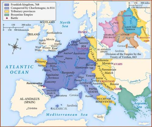 Map of the Carolingian Empire under Charlemagne