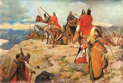 'Dolazak Hrvata na Jadran' ('The Coming of the Croats to the Adriatic Sea'), painted in 1905 by Oton Iveković (d. 1939)