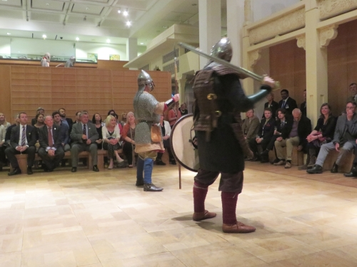 Recreation Saxon and Viking warriors ready to fight at the Royal Armouries Museum, Leeds
