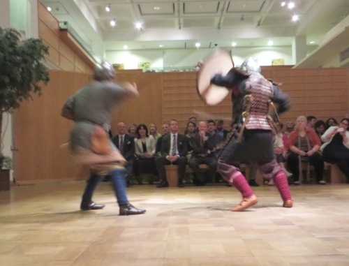 A notional Saxon thegn fights a notional Viking settler at the Royal Armouries Museum, Leeds