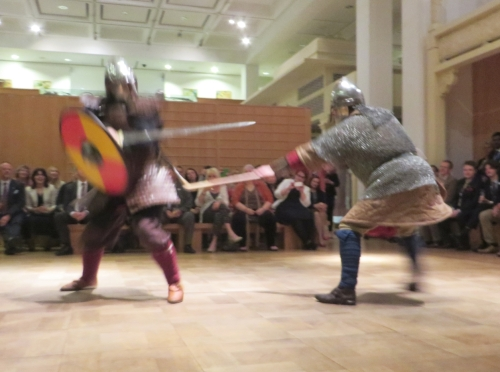 Simulated early medieval combat going wrong at the Royal Armouries Museum, Leeds
