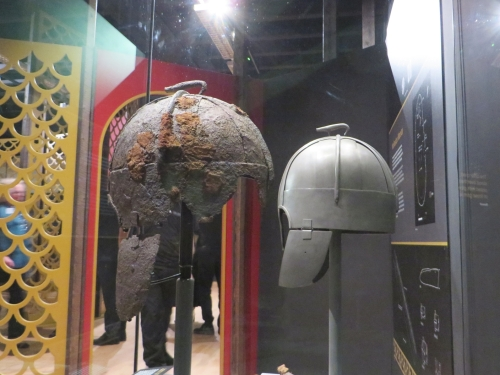 The Wollaston helmet, with a replica for comparison, on display at the Royal Armouries Museum, Leeds