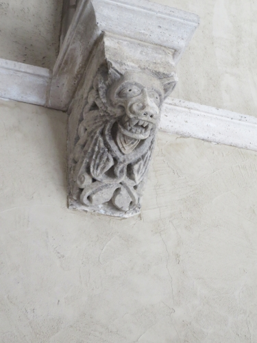 Grotesque animal on a wall inside the Cloisters, Metropolitan Museum of New York