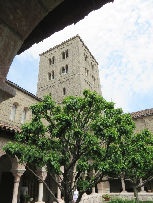 View of the tower from inside one of the actual cloisters of the Cloisters, Metropolitan Museum of New York