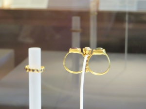 Sixth-century gold and pearl ring from the Griffin Collection on display in the Glass Gallery, the Cloisters, Metropolitan Museum of New York