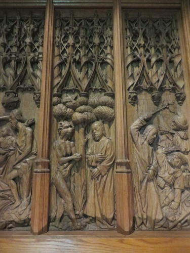 Woodcarving on the walls of The Treasury, The Cloisters, Metropolitan Museum of New York