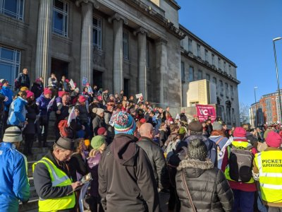 University and College Union pickets dispersing at the Parkinson Building, University of Leeds, 29th November 2019