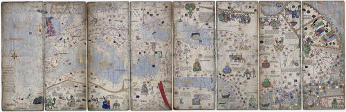 An eight-page montage of the Catalan Atlas in its Paris manuscript