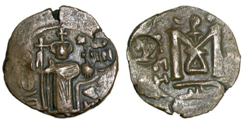 Copper-alloy forty-nummi coin struck by an unknown issuer at Emesa (Hims) at an uncertain date, and later countermarked on both sides, Barber Institute of Fine Arts A-B15