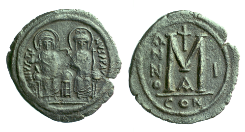 A copper-alloy forty-nummi coin of Emperor Justin II, struck at Constantinople in 565-566, Barber Institute of Fine Arts B1208