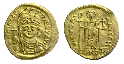 A gold solidus of Emperor Maurice struck at Constantinople in 583-601, Barber Institute of Fine Arts B1810
