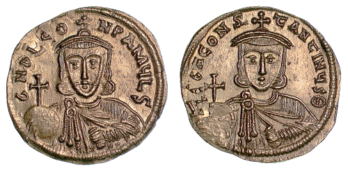 A gold solidus of Emperors Leo III and Constantine V struck at Constantinople in 717-741, Barber Institute of Fine Arts B4510