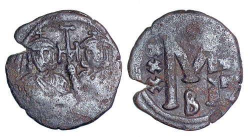 Copper-alloy follis of Emperors Leo III and Constantine V struck at Constantinople between 717  and 741, Barber Institute of Fine Arts B4530