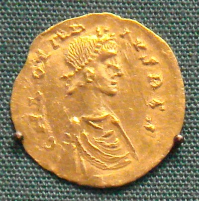 Gold tremissis of the Merovingian King Chlothar II (584-628) in the British Museum, London