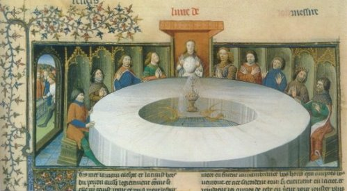 Medieval manuscript illumination of King Arthur's court and the Round Table