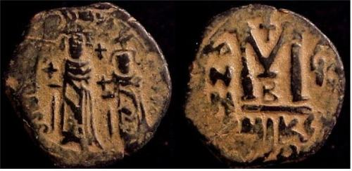 Copper-alloy follis of Emperors Heraclius and Heraclius Constantine struck at Nicomedia in 615-616