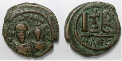 Copper-alloy duodecanummi of Emperors Heraclius and Heraclius Constantine struck at Alexandria in 613-618