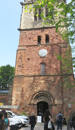 The Norman tower and portal of St Mary's Shrewsbury
