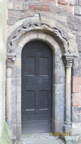 Anglo-Norman archway to an exterior door of St Mary's Shrewsbury