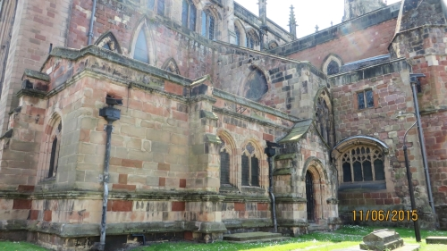 Multiple fabrics visible in the north-east corner of St Mary's Shrewsburu