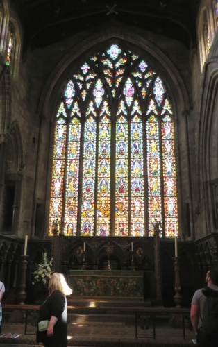 Interior view of the stained glass in the east end of St Mary's Shrewsbury