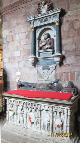 Knight's effigy and early modern monuments to various donors to Holy Cross Abbey, Shrewsbury
