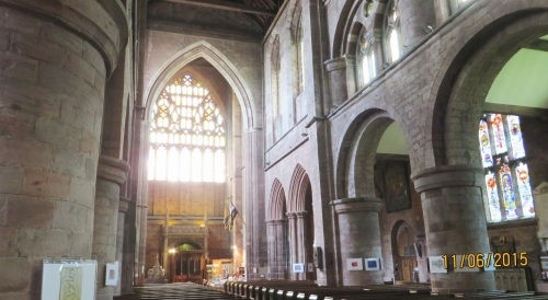 View down the nave of Holy Cross Abbey, Shrewsbury