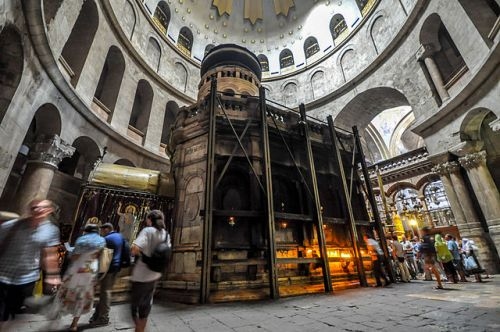 The Aedicule, inside the Church of the Holy Sepulchre, Jerusalem, containing the tomb that is said to be Jesus's, as it now is