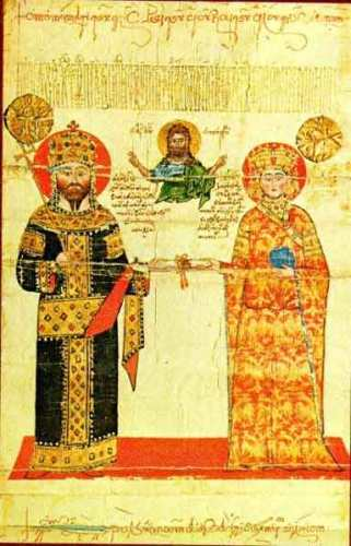Tailpiece of a chrysobull of Emperor Alexios III Megas Komnenos of Trebizond to the Dionysiou Monastery on Mount Athos, showing him and his wife Theodora, niece of Emperor John VI Kantakouzenos of Constantinople