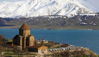 The tenth-century church of Akdamar Island, in the salt Lake Van in Armenia