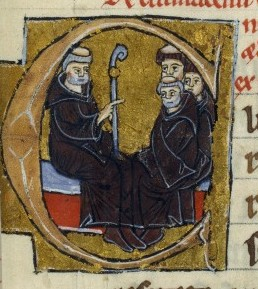 Manuscript illustration of Peter the Venerable