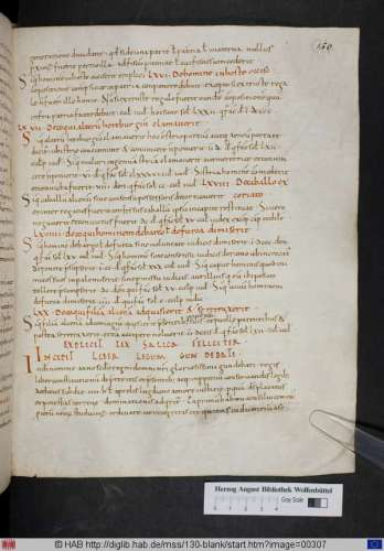 Beginning of a text of the so-called Law of Gundobad, from Wolfenbüttel, Herzog August Bibliothek, Cod. Guelf. 130 Blank, fo. 150r