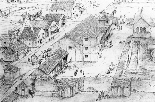 Reconstruction drawing of the post-Roman phase of Wroxeter forum