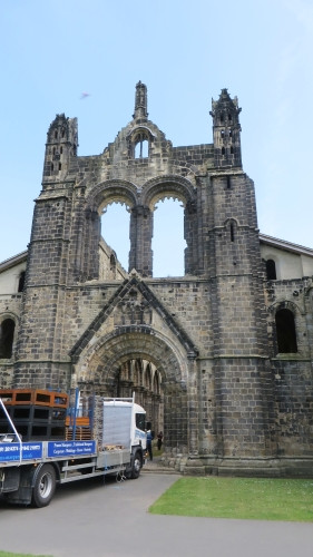 Lorry entering the nave of Kirkstall Abbey