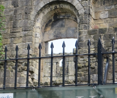 Window into the refectory at Kirkstall Abbey