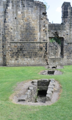Exposed drain channels at Kirkstall Abbey