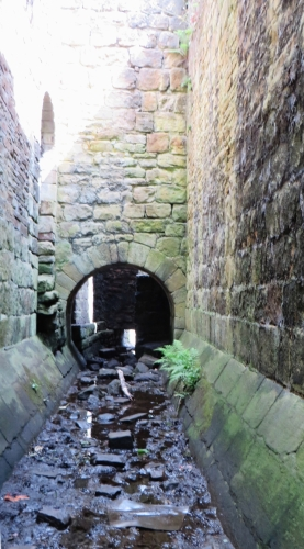 Inside the drain of the abbot's residence at Kirkstall Abbey