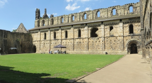 North wall of the cloister of Kirkstall Abbey