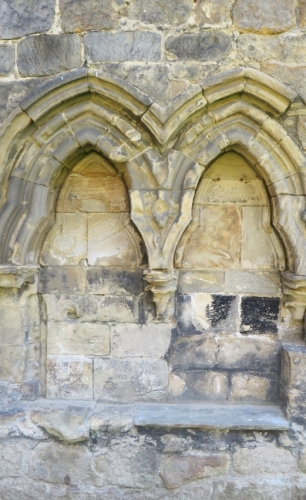 Seats in the cloister wall at Kirkstall Abbey