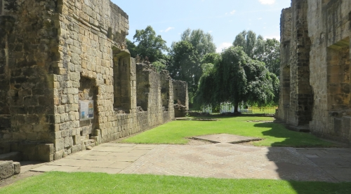 Medieval tiling laid out in modern decoration at Kirkstall Abbey