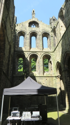 Soundbooth set up in the transept of Kirkstall Abbey for an event
