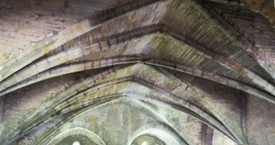 Vaulting in the crypt ceiling at Kirkstall Abbey