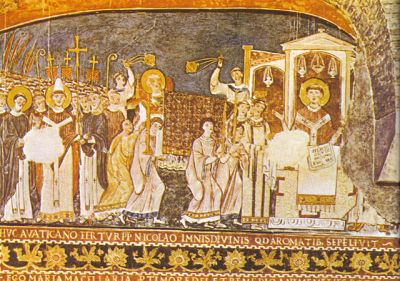 Fresco illustration from San Clemente di Roma, showing the apostles of the Slavs, Saints Cyril and Methodius, before the pope
